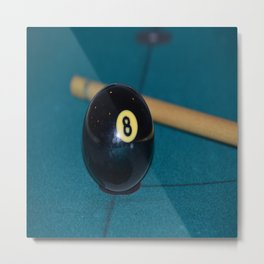 8 Ball and Pool Cue Perfect Father's Day Gift or For the Man Cave Metal Print