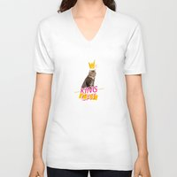kit king V-neck T-shirts featuring King Cat by Kit & Cat
