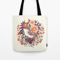 door Tote Bags featuring Wren Day by Teagan White