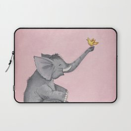 A Little Birdie Told Me - Elephant and Bird Laptop Sleeve