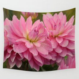 Fresh Rain Drops - Pink Dahlia Wall Tapestry