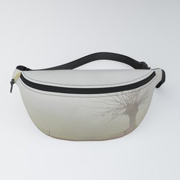 Fallow field in the Po valley with a thick fog Fanny Pack