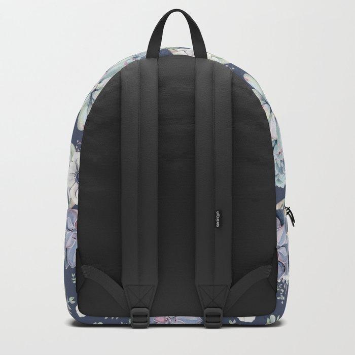 Beautiful Succulent Garden Navy Blue + Pink Backpack