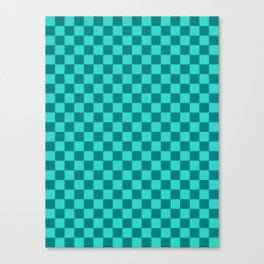 Teal and Turquoise Checkerboard Canvas Print