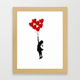Girl With Heart Balloons Framed Art Print