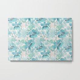 Blue green watercolor flower pattern Metal Print