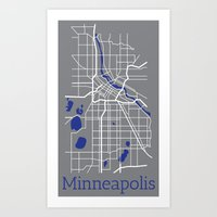 minneapolis Art Prints featuring Minneapolis by Daniel P.