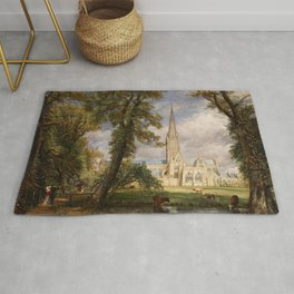 """John Constable """"Salisbury Cathedral from the Bishop's Garden"""" Rug"""