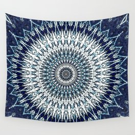 Indigo Navy White Mandala Design Wall Tapestry