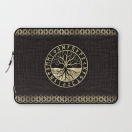 Tree of life  -Yggdrasil and  Runes on wooden texture Laptop Sleeve