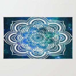 Mandala : Blue Green Galaxy Rug