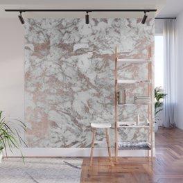 Elegant white faux rose gold modern marble Wall Mural