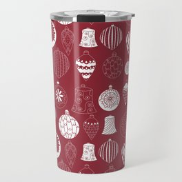 Christmas baubles on red background Travel Mug