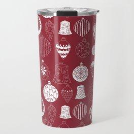Christmas baubles on red background Travel Mug
