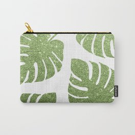 Glitter Monstera Leaves Carry-All Pouch