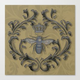 French Bee with Gold Damask Background Canvas Print