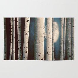 Birch wood at night Rug