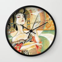 gustav klimt Wall Clocks featuring Klimt Oiran by Sara Richard