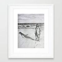 toddler Framed Art Prints featuring Toddler on the Beach Drawing by DonnaBellas