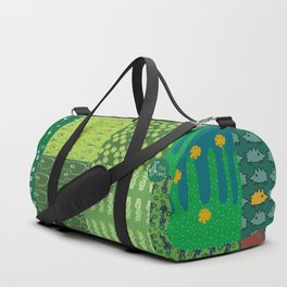 Patchwork made out of eight author images in green colors Duffle Bag