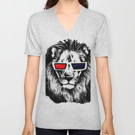 LION BLUE RED T-SHIRT PRINT - LEÓN ROJO AZUL POLO ESTAMPADO Unisex V-Neck