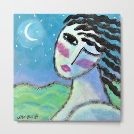 Beautiful Moon Abstract Acrylic Painting Metal Print