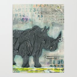 Majestic Series: Rhino on a roll Poster