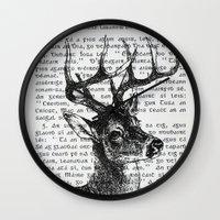 irish Wall Clocks featuring Irish Deer by CrowBiz