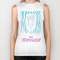 terminator Biker Tanks featuring The Terminator by Daniel Grushecky