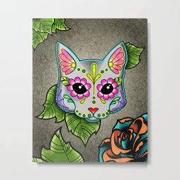 Grey Cat - Day of the Dead Sugar Skull Kitty Metal Print