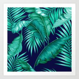 HAWAIIAN GARDEN TROPICAL LEAVES | turquoise navy Art Print