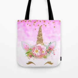 Pink Unicorn and Gold Stars Tote Bag