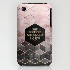 She Believed She Could - Grey Pink iPhone (3g, 3gs) Slim Case