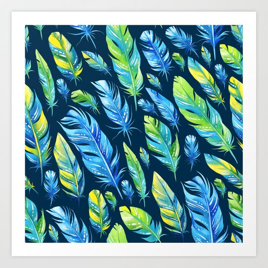 Feathers Pattern 04 Art Print