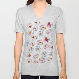 Modern hand painted pink blue lilac watercolor peonies Unisex V-Neck