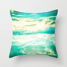 Clouds in a Blue Sky - Vintage Retro Teal Throw Pillow