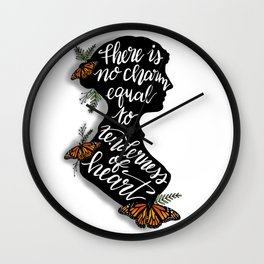 Jane Austen Quote - There is no charm equal to tenderness of heart Wall Clock