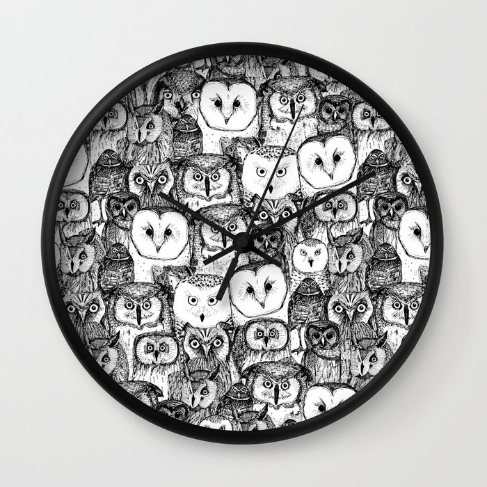 Just Owls Black White Wall Clock by Sharon Turner - Black - Black