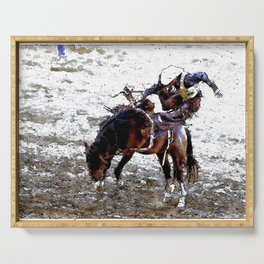 The Dismount   -   Rodeo Cowboy Serving Tray