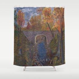 peaceful bridge Shower Curtain