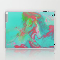 Psychedelic Lava Lamp Abstract Art Painting in Teal and Hot Pink Laptop & iPad Skin