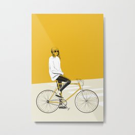 The Yellow Bike Metal Print