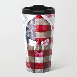 Molon Labe - Spartan Helmet Across An American Flag On Distressed Metal Sheet Travel Mug