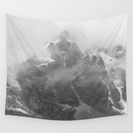 Rocky Mountain Fog B&W Wall Tapestry