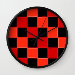 Red & Black Checkers : CheckerBoarD Wall Clock
