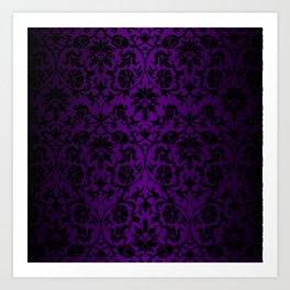 Purple and Black Damask Pattern Design Art Print