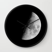 dark side of the moon Wall Clocks featuring Dark Side of the Moon by CARACOIS