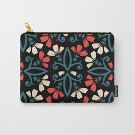 Decorative Floral Pattern 28 - Black, Ming Blue, Flamingo Red, Givry Carry-All Pouch