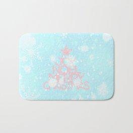 Joy, Noel, Merry Christmas and Star pattern - pink on aqua Bath Mat