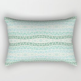 Mosaic Wavy Stripes in Green and Turquoise Rectangular Pillow